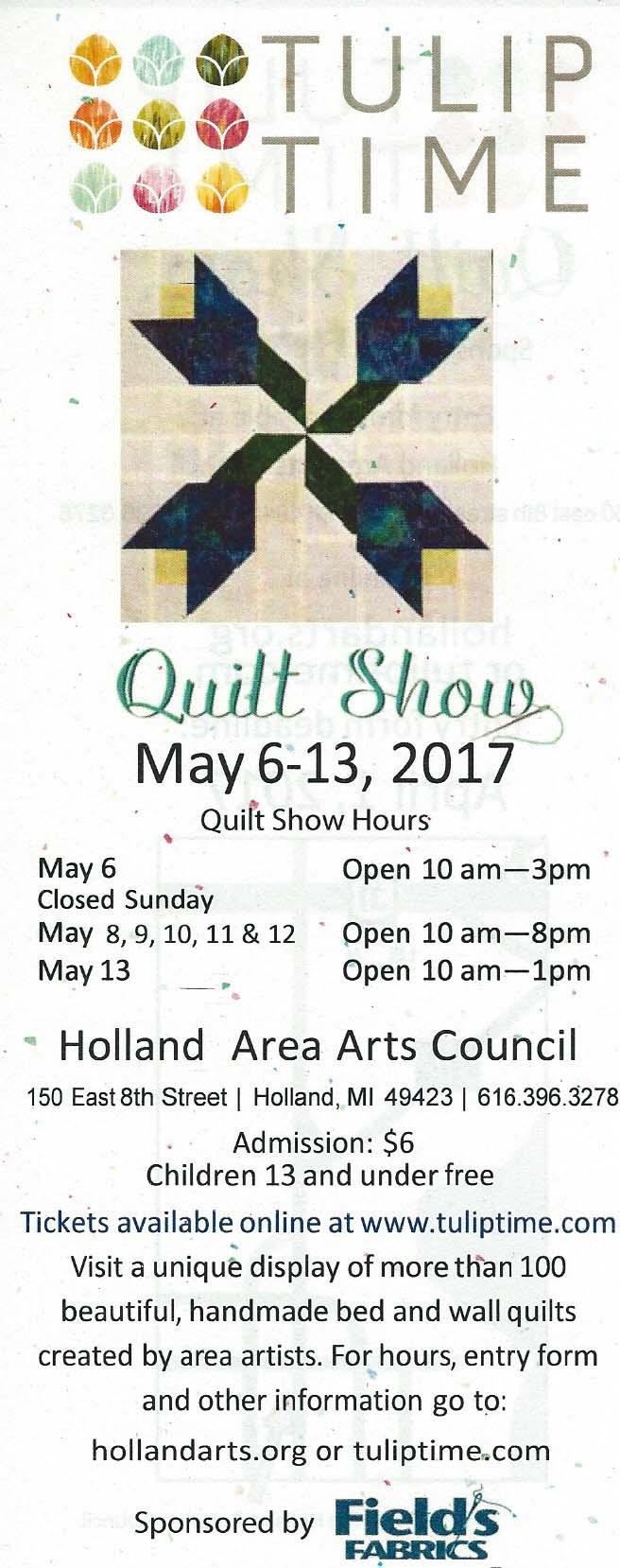 Area Quilt Events - Quilt Show - Tulip Time Quilt Show - 5/6/2017 ... : quilt show calendar - Adamdwight.com